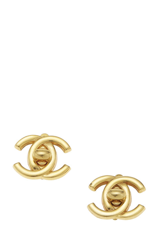 Gold 'CC' Turnlock Earrings Small, , large image number 0