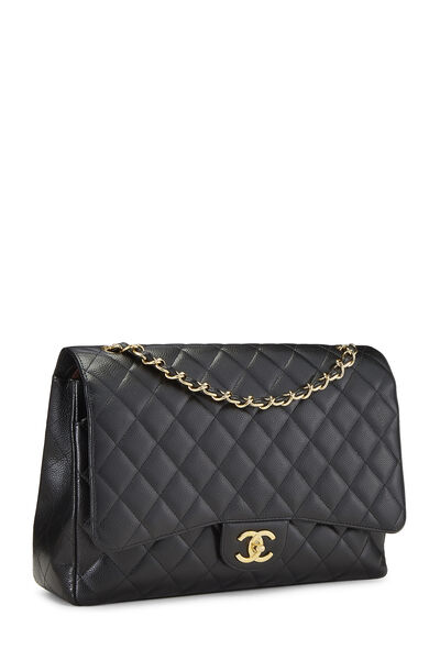 Black Quilted Caviar New Classic Double Flap Jumbo, , large