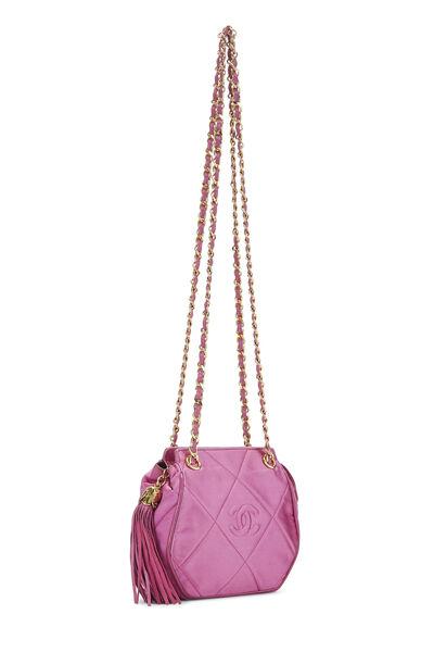 Pink Quilted Satin 'CC' Shoulder Bag Mini, , large