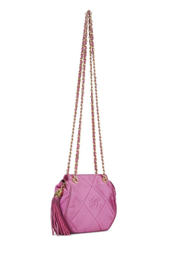 Pink Quilted Satin 'CC' Shoulder Bag Mini, , large image number 1