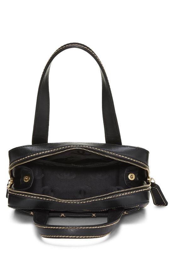 Black Leather Wild Stitch Boston Handbag, , large image number 5