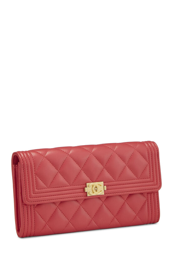 Red Quilted Lambskin Boy Wallet, , large image number 1
