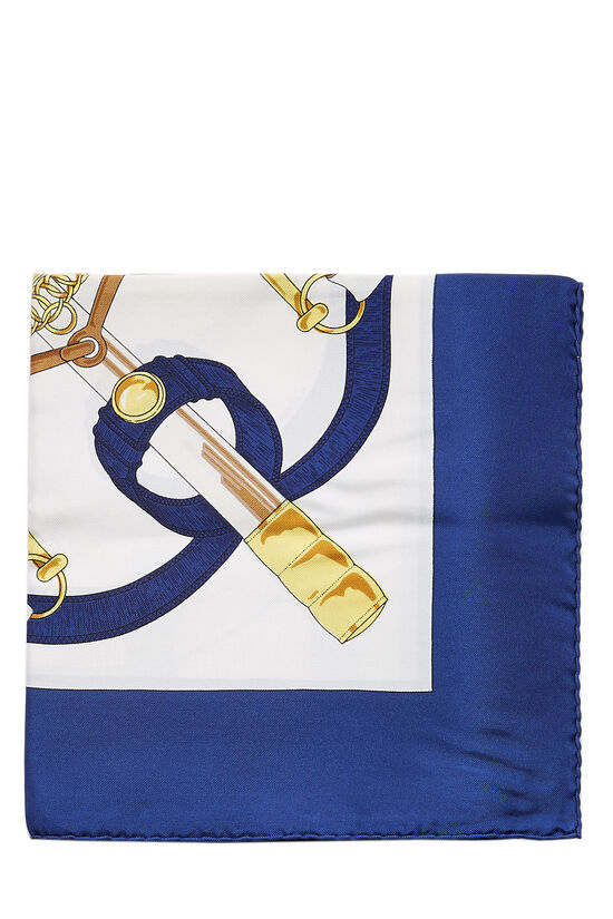 Navy & Multicolor 'Eperon d'Or' Silk Scarf 90, , large image number 1