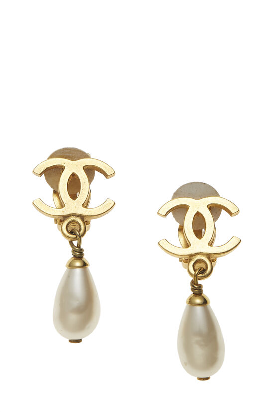 Gold & Faux Pearl 'CC' Dangle Earrings, , large image number 0