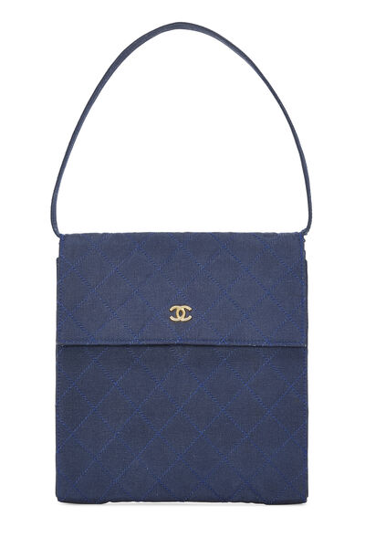 Navy Quilted Fabric Faille Handbag