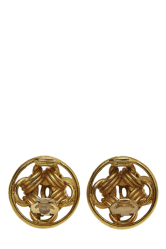 Gold CC Round Chain Earrings, , large image number 2