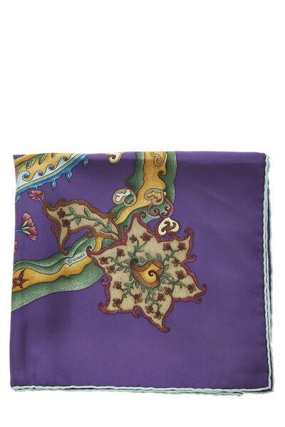 Purple & Multicolor 'De Tout Coeur' Silk Scarf 90, , large