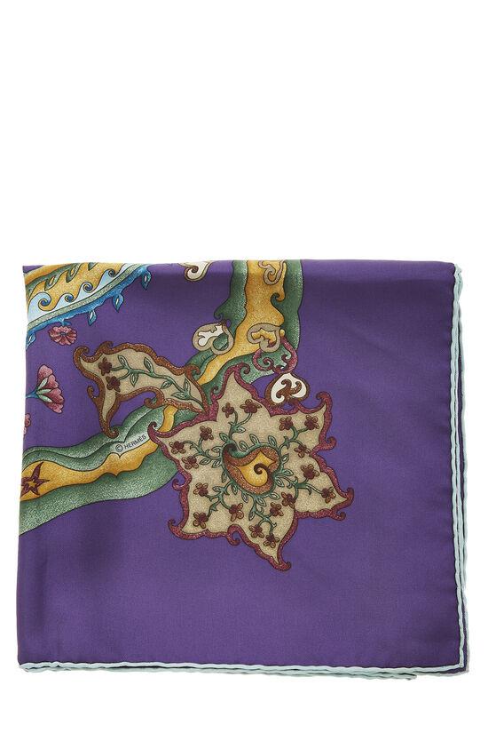 Purple & Multicolor 'De Tout Coeur' Silk Scarf 90, , large image number 1