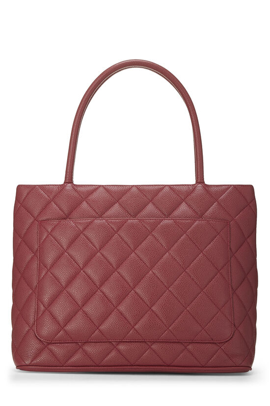 Magenta Quilted Caviar Medallion Tote, , large image number 3
