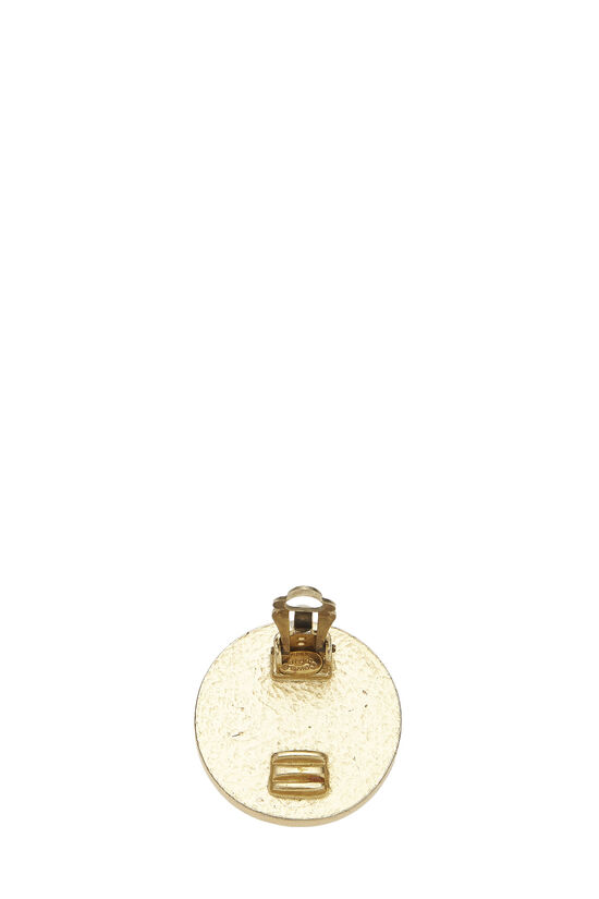 Gold & Black Enamel 'CC' Round Earrings, , large image number 2