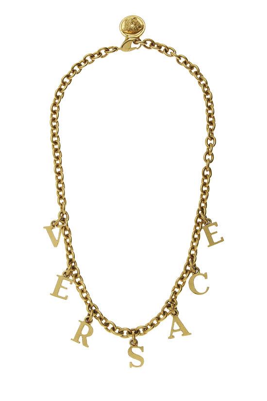Gold Logo Letters Necklace, , large image number 0