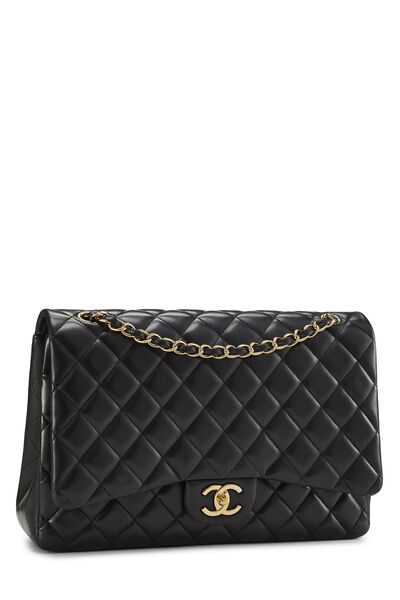 Black Quilted Lambskin New Classic Double Flap Maxi, , large