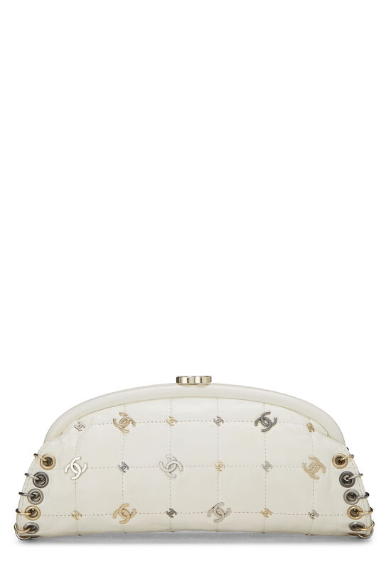 White Calfskin Punk Timeless Clutch, , large image number 3