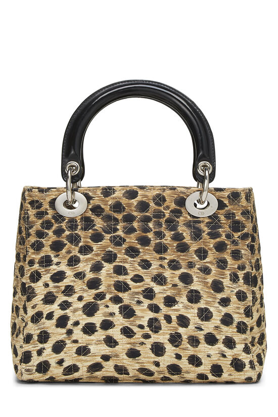 Brown Animal Print Cannage Quilted Nylon Lady Dior Medium, , large image number 3