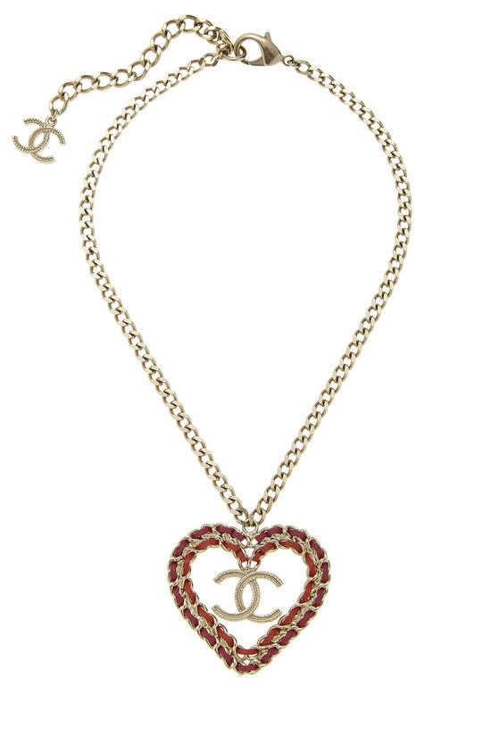 Gold & Multicolor 'CC' Heart Necklace, , large image number 0