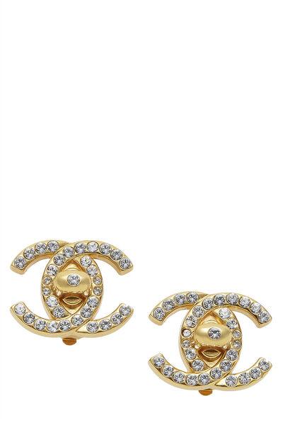Gold & Crystal 'CC' Turnlock Earrings Medium