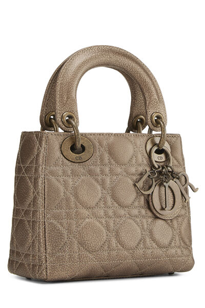 Bronze Cannage Quilted Lambskin Lady Dior Mini, , large