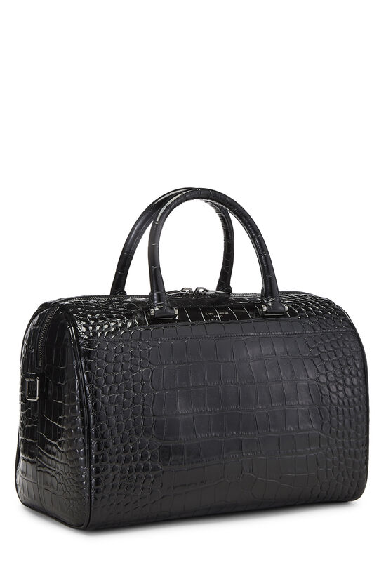 Black Embossed Leather Convertible Boston Bag, , large image number 2