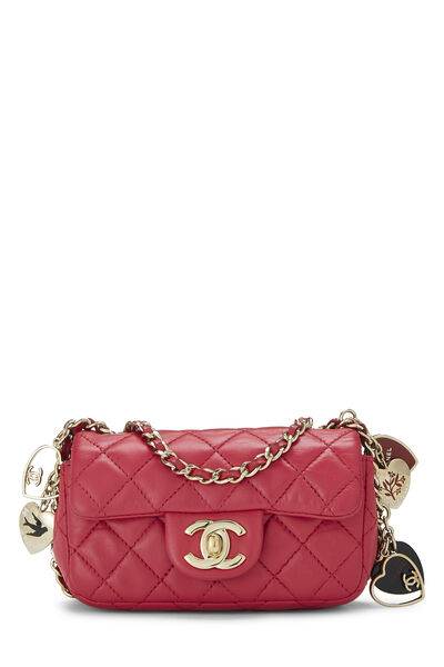 Pink Quilted Lambskin Valentine Flap Micro