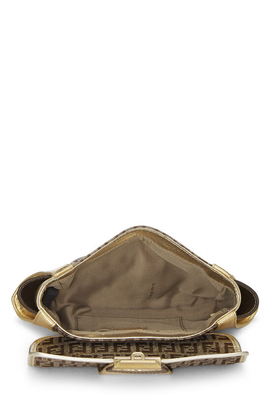 Metallic Leather & Zucchino Canvas Compilation Clutch, , large image number 5