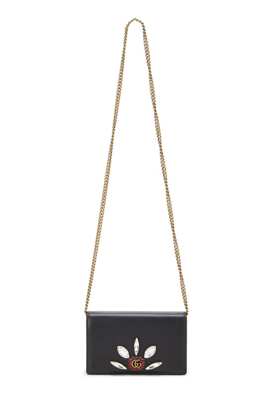 Black Leather GG Marmont Wallet on Chain Mini, , large image number 6