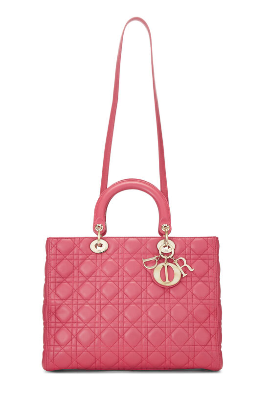 Pink Cannage Quilted Lambskin Lady Dior Large, , large image number 1