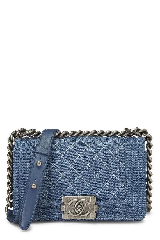Blue Quilted Denim Boy Bag Small, , large image number 0
