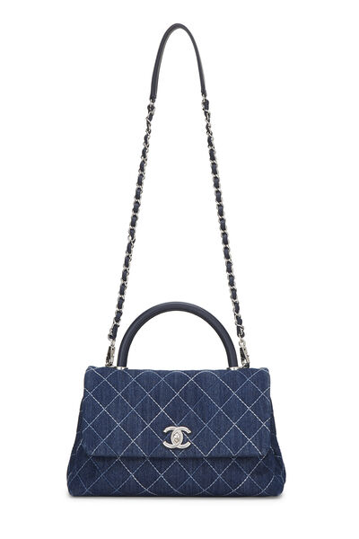 Blue Quilted Denim Coco Handle Bag Small, , large