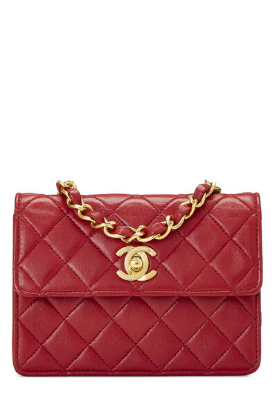 Red Quilted Lambskin Half Flap Micro