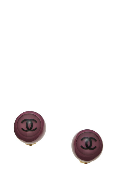 Purple Acrylic 'CC' Button Earrings