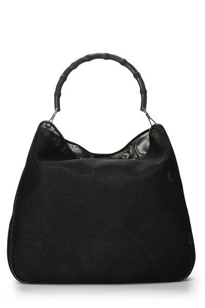 Black Mesh Bamboo Shoulder Bag