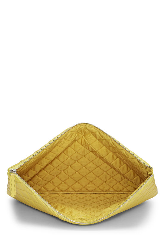 Yellow Quilted Lambskin Pouch, , large image number 3