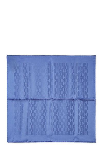 Blue 'Grand H' Silk Pocket Square