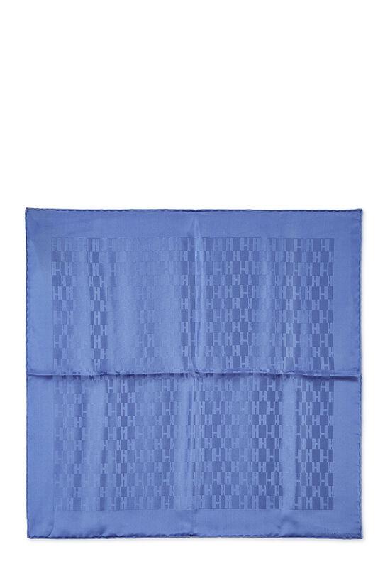 Blue 'Grand H' Silk Pocket Square, , large image number 0