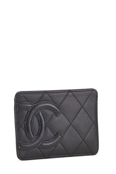 Black Quilted Calfskin Cambon Card Holder, , large