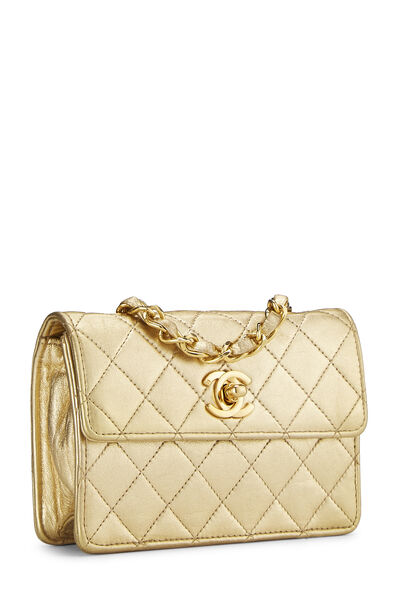 Gold Quilted Lambskin Half Flap Micro, , large