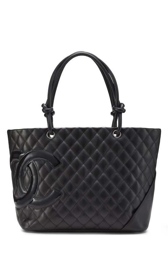 Black Quilted Calfskin Cambon Tote Large, , large image number 0