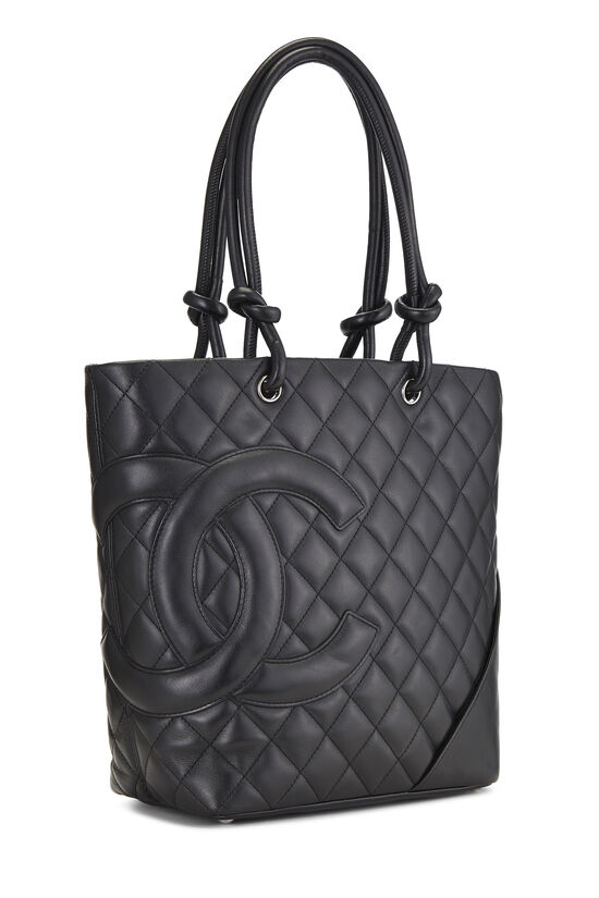 Black Quilted Calfskin Cambon Tote Small, , large image number 1