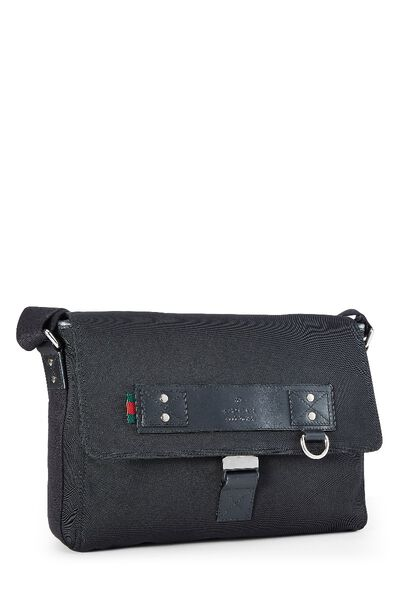 Black Canvas Techno Messenger Bag, , large
