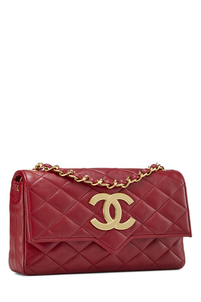 Red Quilted Lambskin Pointed Flap Small, , large