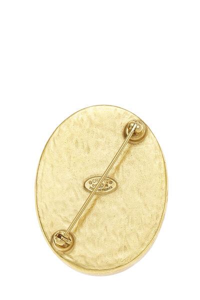 Gold & Black 'CC' Oval Pin, , large