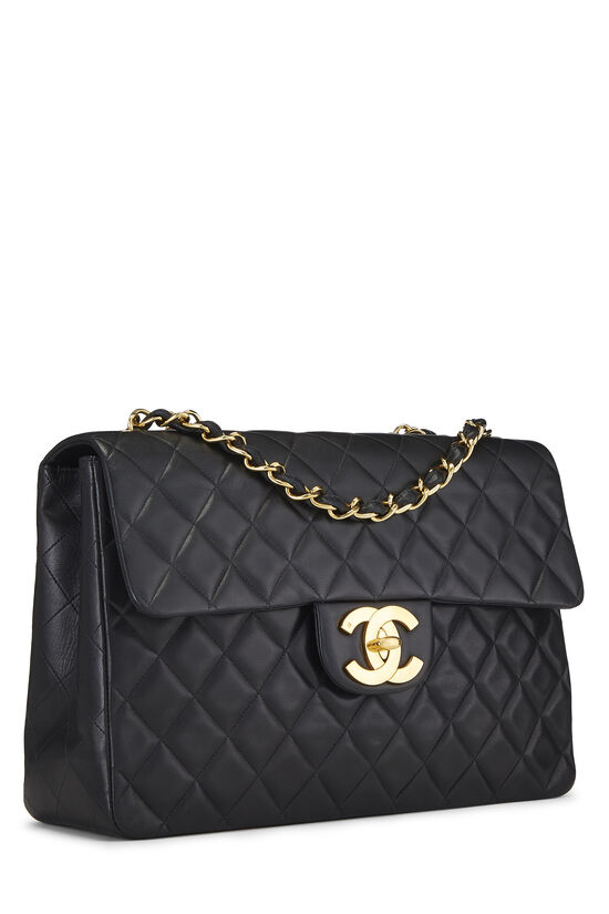 Black Quilted Lambskin Half Flap Maxi, , large image number 1