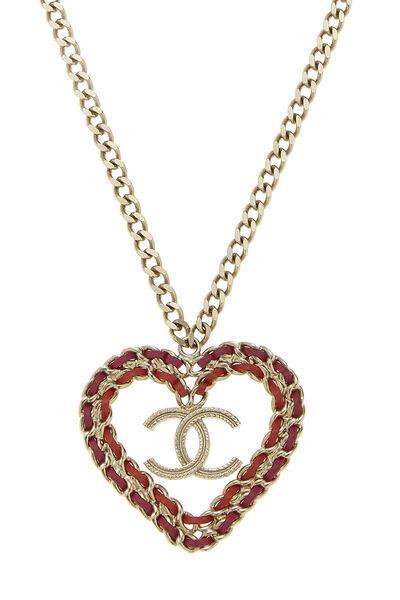 Gold & Multicolor 'CC' Heart Necklace, , large