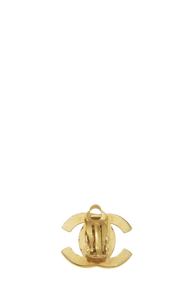 Gold 'CC' Turnlock Earrings Small, , large