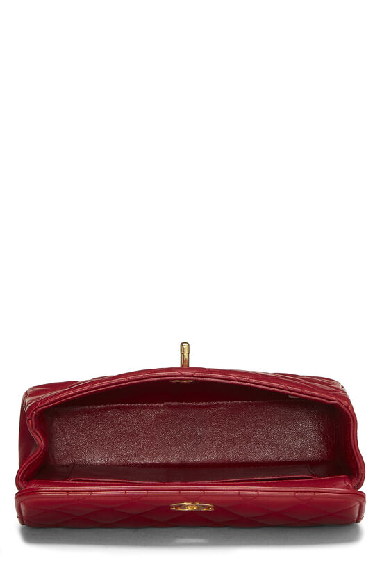 Red Quilted Lambskin Half Flap Mini, , large image number 3