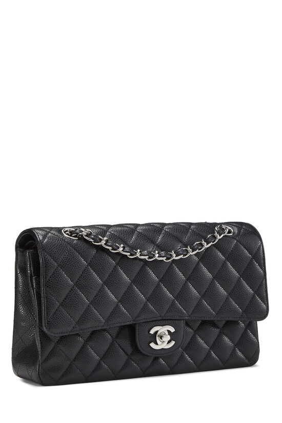 Black Quilted Caviar Classic Double Flap Medium, , large image number 1