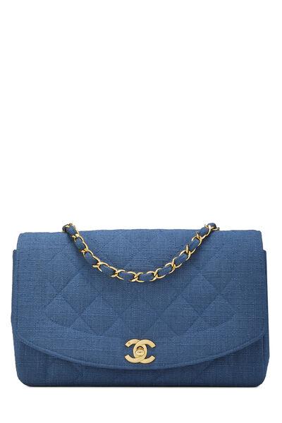Blue Quilted LInen Diana Flap Medium
