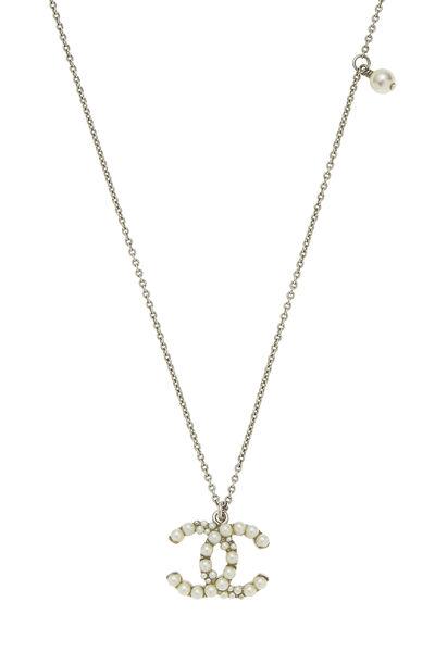 Silver & Faux Pearl 'CC' Long Necklace, , large