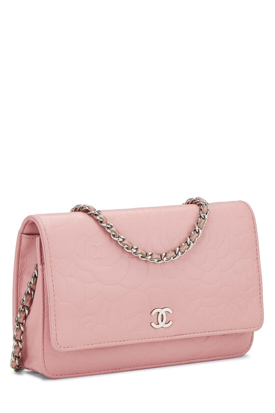 Pink Lambskin Camellia Wallet on Chain (WOC), , large image number 2