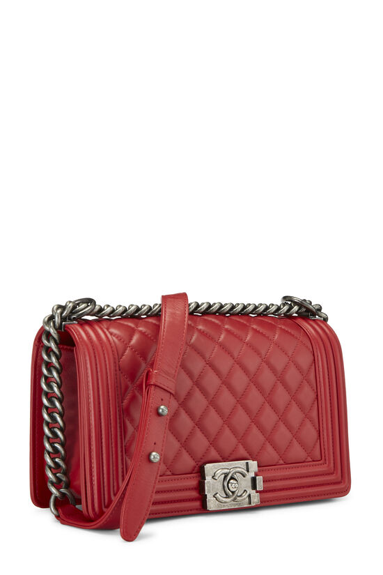 Red Quilted Lambskin Boy Bag Medium, , large image number 2